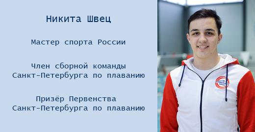 Швец Никита Александрович - призёр Первенства Санкт-Петербурга по плаванию